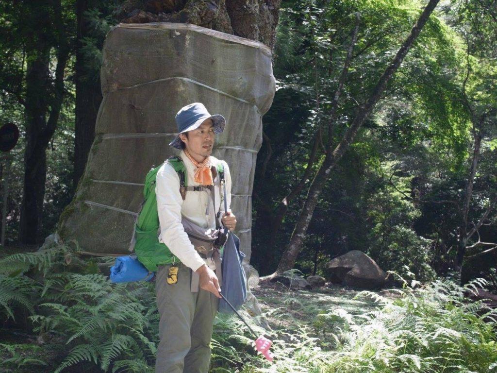 原始林内のギャップとナンキンハゼなどの問題について話しています。 photo aoi kawano